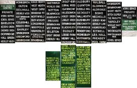 Pair of West Midlands Travel DESTINATION BLINDS, one for Midland Red West and the other for