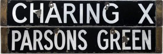 London Underground Q-Stock enamel CAB DESTINATION PLATE Charing X [Charing Cross]/Parsons Green on
