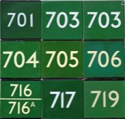 Selection (9) of London Transport coach stop enamel E-PLATES for Green Line routes 701, 703 x 2,