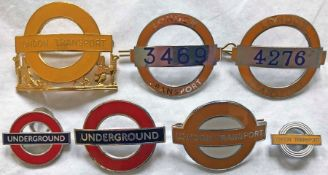 Selection (7) of London Transport Underground CAP & LAPEL BADGES comprising late-1970s Station