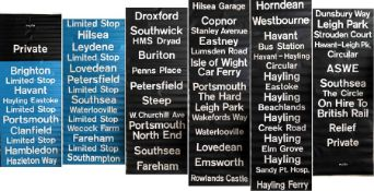 c1970s Southdown Motor Services DESTINATION BLIND, coded PU/81 (Portsmouth area). Includes blue