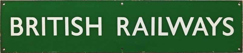 British Railways (Southern Region) enamel HEADER PLATE 'British Railways' from a poster board.