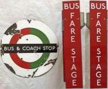 Pair of London Transport ENAMEL SIGNS, the first a 'DOLLY' BUS & COACH STOP PLATE (Compulsory