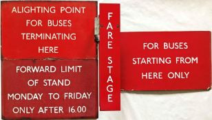"""Selection (4) of London Transport bus stop ENAMEL SIGNS comprising 3 x E6-size G-PLATES: """""""
