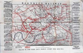 1875 District Railway MAP. A very early issue from London's second Underground railway which