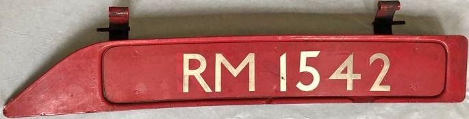 London Transport Routemaster bonnet FLEETNUMBER PLATE from RM 1542. The original RM 1542 entered