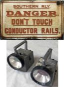 """Southern Railway 1930s/40s ENAMEL SIGN 'Danger - Don't touch conductor rails', measuring 20"""" x"""