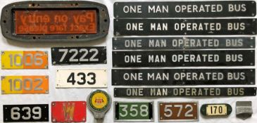 Selection (18) of mainly alloy bus PLATES including fleetnumbers, 'One Man Operated Bus', 'Pay on