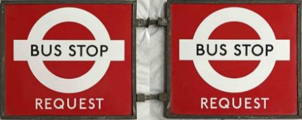 1940s/50s London Transport enamel BUS STOP FLAG, the 'request' version. Double-sided with two enamel