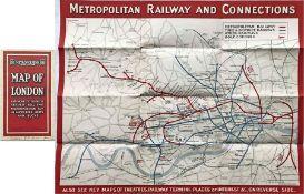 1921 Metropolitan Railway POCKET MAP, the Met's own version of the London Underground map. Print-