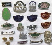 Quantity (21) of 1950s-70s bus UNIFORM BADGES & BUTTONS (driver, conductor, inspector etc) from a