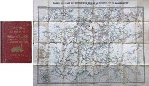 c1850s Carte Generale des Chemins de la France et de l'Allemagne published by Logerot, Paris (map of