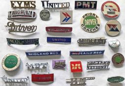 Quantity (27) of 1950s-70s bus UNIFORM BADGES (driver, conductor, timekeeper etc) from a wide