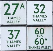 Selection (4) of London Transport bus stop enamel E-PLATES for Thames Valley routes 27A, 32, 37