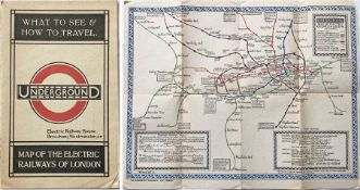 1921 London Underground MAP OF THE ELECTRIC RAILWAYS OF LONDON 'What to See & How to Travel' with