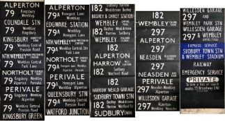 London Transport DESTINATION BLIND for an MB (also fits RF) from Alperton (ON) garage dated 7.5.71