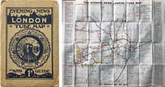 c1910 Evening News LONDON TUBE MAP & GUIDE. Produced by George Philip & Sons and features a unique