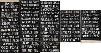 London Transport RTL/RTW DESTINATION BLIND from Bow (BW) garage dated 16.3.65 (REN 5.66) and