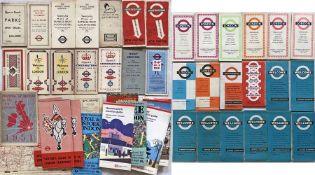 Quantity (50+) of London Transport etc POCKET MAPS & LEAFLETS from 1930s to recently. Includes LCC