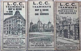 Trio of 1914 LCC Tramways POCKET MAPS ('Map & Guide to Car Services') comprising issues dated