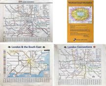 Selection (4) of railway POSTER MAPS comprising 3 x quad-royal size: May 1989 and April 1998 'London