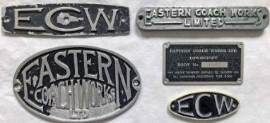 Selection (5) of Eastern Coach Works (ECW) alloy VEHICLE PLATES of various styles. Generally in good