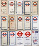 Selection (15) of London Underground diagrammatic, card POCKET MAPS comprising No 1 1946 (1/46),