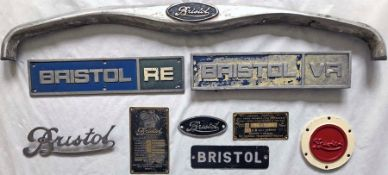 Selection (9) of Bristol VEHICLE PLATES & BADGES of various types and styles, including the top