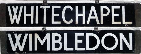 London Underground Q/CO/CP Stock enamel CAB DESTINATION PLATE for Whitechapel / Wimbledon on the