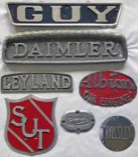 Selection (7) of manufacturers' etc alloy VEHICLE PLATES comprising Leyland, Daimler, Crossley, Guy,