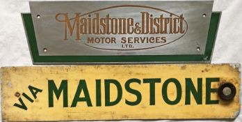 Pair of Maidstone & District items comprising a stainless-steel COACH PLATE 'Maidstone & District