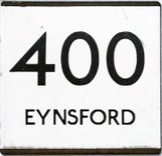 London Country bus stop enamel E-PLATE for route 400 destinated Eynsford. This mid-1970s incarnation