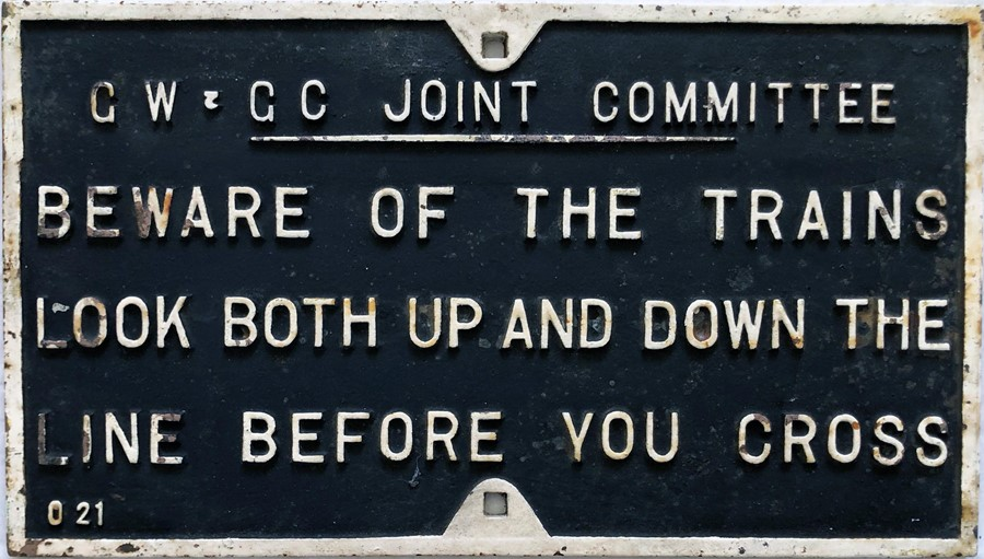 """Great Western & Great Central Joint Committee cast-iron SIGN """"Beware of the trains. Look both up and"""