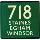 London Transport coach stop enamel E-PLATE for Green Line route 718 destinated Staines, Egham,