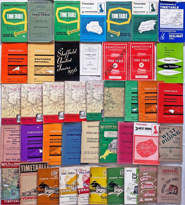 Quantity (42) of 1940s-70s bus TIMETABLE etc BOOKLETS for a wide range of operators from S-Y and