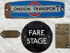 Selection of small London Transport BUS-RELATED PLATES comprising an RTL/RTW radiator badge (