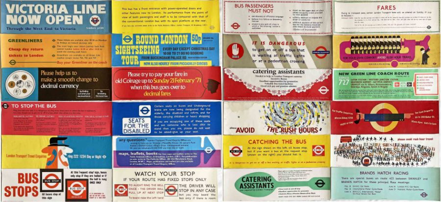 Quantity (24) of 1960s/70s London Transport bus INTERIOR POSTERS as positioned above the windows