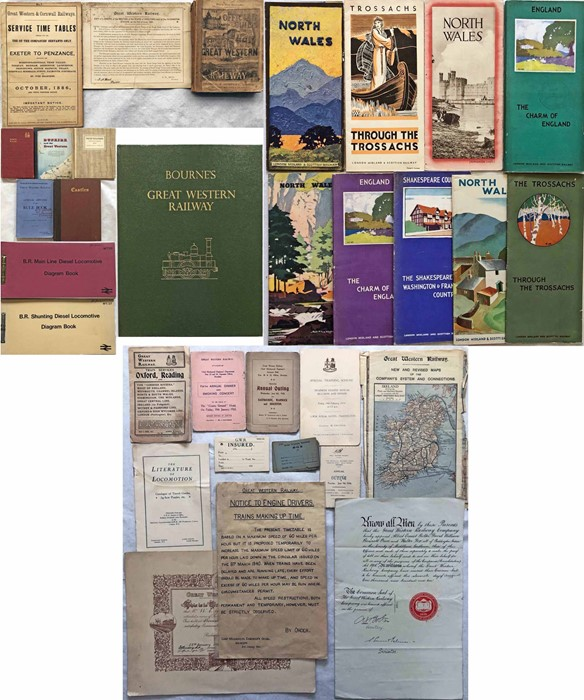Quantity (30+) of 1880s onwards RAILWAY EPHEMERA: GWR 1880s guide, timetable, 1892 minute re broad