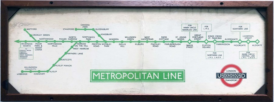 1930s/40s London Underground Metropolitan Line CAR DIAGRAM (date is obscured by frame) for