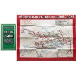 c1932 Metropolitan Railway POCKET MAP, the Met's own version of the London Underground map. Print-