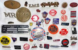 Good quantity (40+) of railway, rail union and lorry manufacturer LAPEL & PIN BADGES. Huge