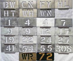 Selection (25) of London Transport trolleybus depôt allocation stencils (7) and running number etc