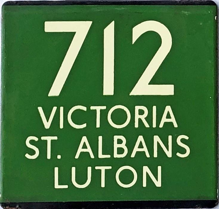 London Transport coach stop enamel E-PLATE for Green Line route 712 destinated Victoria, St