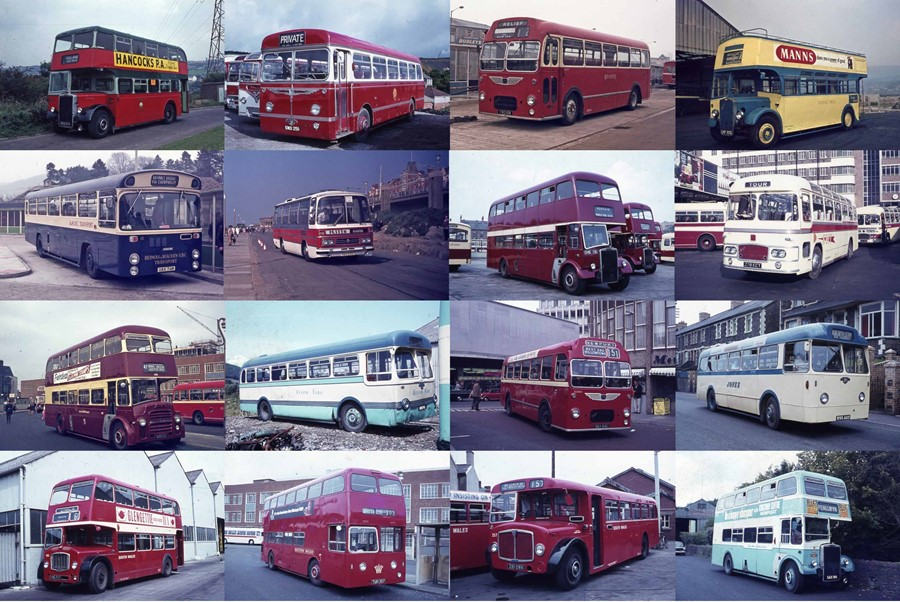Very large quantity (c350) of South & Central Wales 35mm bus & coach COLOUR SLIDES (Agfachrome), all