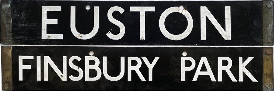 London Underground 1938-Tube Stock enamel CAB DESTINATION PLATE for Euston / Finsbury Park on the