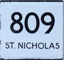 London Transport bus stop enamel E-PLATE for route 809 destinated St Nicholas. This would have