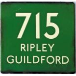 London Transport coach stop enamel E-PLATE for Green Line route 715 destinated Ripley, Guildford.