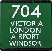 London Transport coach stop enamel E-PLATE for Green Line route 704 destinated Victoria, London