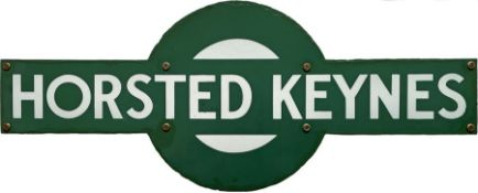 Southern Railway enamel STATION TARGET SIGN from Horsted Keynes, the junction on the former LB&SCR