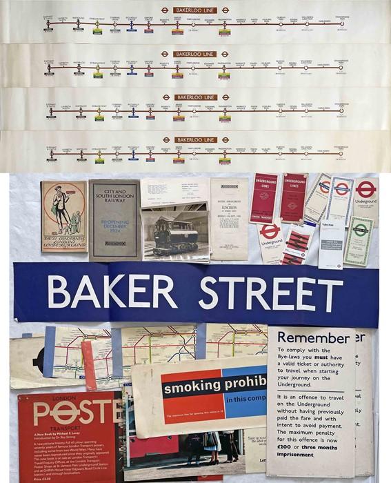 Quantity of London Underground ephemera including 4 x 1980s Bakerloo Line CAR DIAGRAMS (vgc),